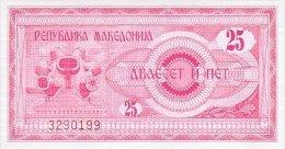 Macedonia 25 Denar 1992 Pick 2 UNC - Macedonia