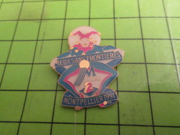 414b Pins Pin's / Rare & Belle Qualité THEME JEUX / MONTPELLIER JEUX SANS FRONTIERES 1991 EMISSION TELE - Games