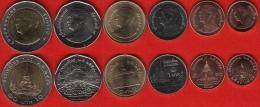 Thailand Set Of 6 Coins: 25 Satang - 10 Baht 2008-2015 UNC - Tailandia