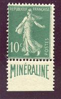 (1343) N°188A Minéraline Neuf ** Signé Brun Cote 725€ - 1906-38 Säerin, Untergrund Glatt