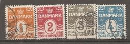 Yv. DK  N°  69 à 72   (o)  1o à 4o   Cote  1,45 Euro BE - 1913-47 (Christian X)