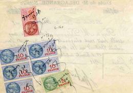 """Timbre Fiscal:  Timbre Fiscal Type """"Série Unifiée"""" Sur Récépissé Notarial - Revenue Stamps"""