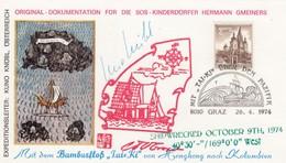 CARD. EXPEDITION TAI-KI VON HONG-KONG NACH KOLUMBIEN. AUSTRIA 1974 - Briefmarken