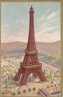 Chromo Dorée TOUR EIFFEL EXPO UNIVERSELLE 1889 Dos Vierge, Vue Rare - Sonstige