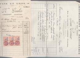 Crozon Finistere - 2 Factures - Vins N.Goales 1945, Menuiserie Jean Corner, 1946, Rue Du Cimetiere - France