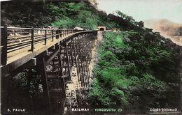 Seltene ALTE  AK   SAO PAULO / Brasilien  - Railway Viacducto - 1927 Ca. Gelaufen - São Paulo