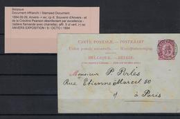 CARTE POSTALE 1894 (ntz) NAAR PARIS GESTEMPELD ANVERS(EXPOSITION) COBA € 50,00 - Entiers Postaux