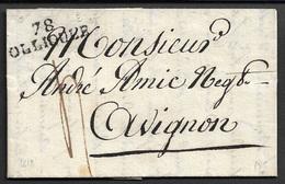 1818 - LAC - 78 OLLIOULE ( VAR ) A AVIGNON - 31mm X 10mm. TB - 1801-1848: Precursores XIX