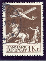 DENMARK 1929 Airmail 1 Kr. Used.  Michel 181 - Airmail