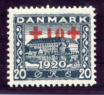 DENMARK 1921 Red Cross Surcharge On North Schleswig 20 Øre, LHM / * .  Michel 117 - 1913-47 (Christian X)