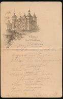 CHATEAU DES CAILLOUX  JODOIGE MENU 1931 - 15.5 X 10 CM - PLOOI IN MIDDEN - Menus