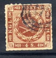 DENMARK 1863 4 Sk. Rouletted 11, Used. .  Michel 9 - 1851-63 (Frederik VII)