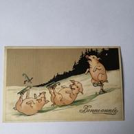 Bonne Annee - New Year / Happy Pigs / Skating 19?? - Nieuwjaar