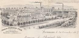 Facture 1907 / PERNOD Fils / Distillerie / Veil Picard Fondateurs / 25 Pontarlier / Couvet Suisse - France