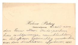 Visitekaartje - Carte Visite - Onderwijzeres Helene Pieters - Gent - Cartoncini Da Visita