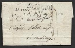 1791 - LAC - AVIGNON - 40mm X 7mm - Ind. 19 - Marcophilie (Lettres)