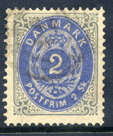 DENMARK 1871 Numeral In Oval 2 Sk. Grey/ultramarine  Used. Michel 16 I Aa - 1864-04 (Christian IX)
