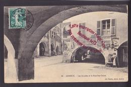 P1208 - ANNECY Les Arcades Et La Rue Ste Claire - Publicités Singer, Chocolat Meunier, Pissard, Pippermin - Haute Savoie - Annecy