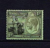 TRINIDAD  AND  TOBAGO    1922    1/-  Black / Emerald     MH - Trinidad & Tobago (...-1961)