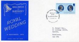 1973 Royal Wedding 25p FDC - Guernsey