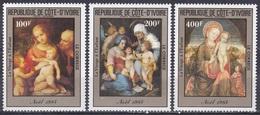 Elfenbeinküste Ivory Coast Cote D'Ivoire 1985 Religionen Christmas Noel Gemälde Painting Correggio Bellini, Mi. 842-4 ** - Costa De Marfil (1960-...)