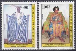 Elfenbeinküste Ivory Coast Cote D'Ivoire 1985 Kulture Culture Trachten Costumes Folklore Babou, Mi. 847-8 ** - Côte D'Ivoire (1960-...)