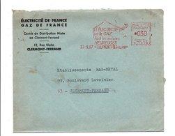 EMA SUR LETTRE A EN TETE EDF GDF CLERMONT FERRAND 1967 - Postmark Collection (Covers)