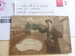 Souvenir De Bully Grenay Soldat Patriotique + Publicité Pharmacie Au Dos ! - Stations With Trains
