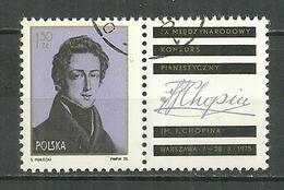 POLAND Oblitéré 2243 Fréderic CHOPIN Musique Musicien Piano - 1944-.... Republik