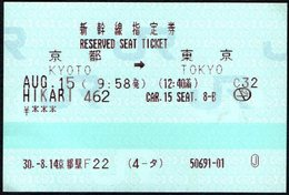 RESERVED SEAT TICKET JAPAN RAIL 2018 - Chemins De Fer