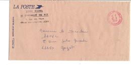OBLITERATION SUR LETTRE DE SERVICE SERVICE REGIONAL DE COMPTABILITE VILLEURBANNE 1990 - Marcophilie (Lettres)