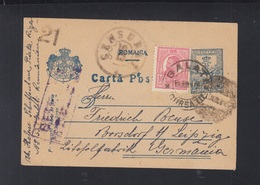 Romania Stationery 1918 Galati To Germany Censor - Lettres 1ère Guerre Mondiale