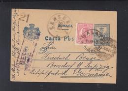 Romania Stationery 1918 Galati To Germany Censor - Storia Postale Prima Guerra Mondiale