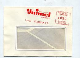 Lettre Flamme Ema Besançon Brochet Unimel - Marcophilie (Lettres)