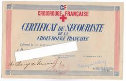 03 - VICHY - CROIX ROUGE FRANCAISE - Certificat Secouriste - 1944 - Diplômes & Bulletins Scolaires