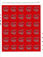 Feuille 30 Timbres Autoadhésifs Coeur Givenchy 20g YetT 102 (3998) Cote 420 Euros - Feuilles Complètes