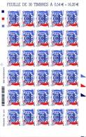 Feuille 30 Timbres Autodahésifs Cours Des Comptes  YetT 117 (4028) Cote 90 Euros - Feuilles Complètes