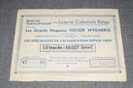 RARE Bon De Participation Loterie Coloniale,grands Magasins Victor Wigaerts Bruxelles,collection - Billets De Loterie