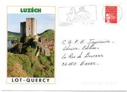 LOT - Dépt N° 46 = LUZECH 1999 = FLAMME THEME ARCHITECTURE = SECAP  Illustrée  ' QUERCY ' Sur Enveloppe Illustrée - Marcophilie (Lettres)