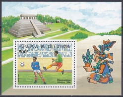 Elfenbeinküste Ivory Coast Cote D'Ivoire 1985 Sport Fußball Football Soccer Mexiko Mexico WM, Bl. 27 ** - Côte D'Ivoire (1960-...)