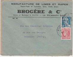 Enveloppe Commerciale 1949 / Manufacture Limes Râpes Rogne-pieds Tranchets / BROGERE / 42 La Ricamarie Loire - Cartes