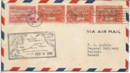 FILIPINAS MANILA CC PRIMER VUELO A USA 1935 CLIPPER AL DORSO LLEGADA SELLOS SOBRECARGADOS - Filipinas
