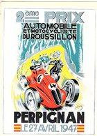 Grand Prix De Automobile Et Motocycliste à Perpignan 1947      -  Publicité  -  CPR - Grand Prix / F1