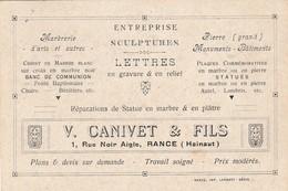 Rance :V.Canivet & Fils,entreprise Sculpture,Marbrerie D'art ,monument Batiment ,marbre Blanc Noir,plaque Commémorative - Sivry-Rance