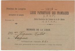 Carte 1916 / Ligue Patriotique Des Femmes Françaises / Diocèse Langres 52 / Vigneron Serqueux / Religion - Cartes