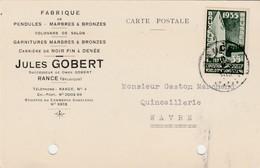 Rance :Jules Gobert, Fabrique Pendule+garniture Marbre  Bronze,carrière De Noir Fin à Denée( Cheminée,horloge,Marbrerie) - Sivry-Rance