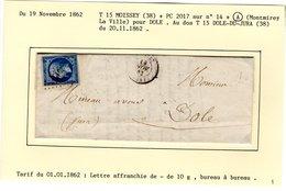Jura : T 15 MOISSEY + PC 2017 Sur Yt 14 + A ( Montmirey La Ville ) Sur LAC En 1862 - Postmark Collection (Covers)