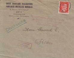 Lettre à Entête (caisse Mosellane D'allocations) De Metz (T326 Metz 3m) TP Reich 8pg=1°imp Le 29/1/42 Pour Peltre - Marcophilie (Lettres)