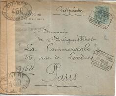 PALMA MALLORCA A PARIS 1918 CC CERTIFICADA CON CIERRE Y MARCAS DE CENSURA FRANCESA - 1889-1931 Reino: Alfonso XIII