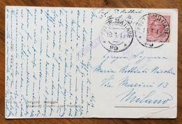POSTA MILITARE *90* 18/3/18 + 26 BATTAGLIONE D'ASSEDIO COMANDO   SU CARTOLINA BACINO DI CANNERO PER  MILANO - War 1914-18